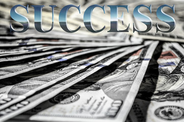 Success word in a money USD background