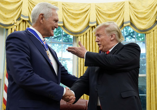 U.S. President Trump hosts Presidential Medal of Freedom presentation to NBA Hall of Famer West at the White House in Washington