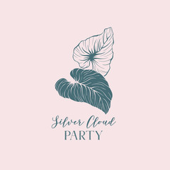 Silver cloud party hand drawn lettering. Outline and silhouette palm leaves logo design. Rainforest leafage on pink background. Tropical foliage illustration. Botanical postcard, invitation design