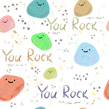 You Rock motivational card. You Rock pattern. Illustration of stones and the words you rock. American slang on a white background. Cool expression for a man. Vector background with cartoon stones.
