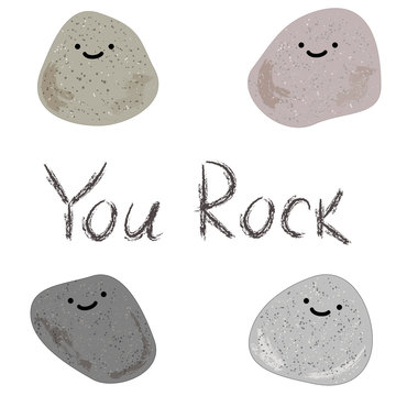 Illustration of stones and the words you rock. American slang on a white background. Cool expression for a man. Vector background with cartoon stones. You Rock motivational card. You Rock poster