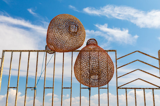 """Italy, Apulia, Province of Lecce, Gallipoli. Reed, or wicker, fish traps, called """"nasse""""."""