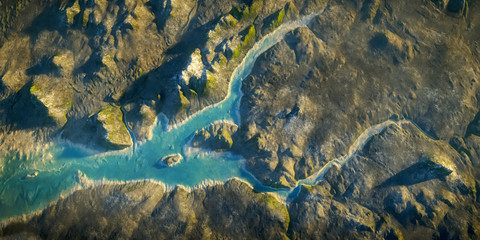 aerial view fantasy landscape with river