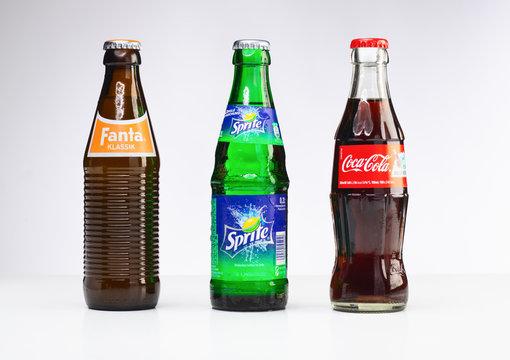 Aachen, Germany - 06 June 2015: Studioshot of coca cola, fanta, sprite lemonade