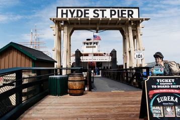 Apr 1, 2008, San Francisco, California. Entrance to the Hyde Street Pier, San Francisco Maritime National Historical Park, in San Francisco's Fisherman's Wharf neighborhood.