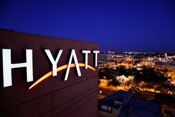 Feb 12, 2010, San Antonio, Texas. Illuminated sign for the Hyatt Regency hotel, 123 Losoya Street, overlooking Alamo plaza (and the Riverwalk on the other side)