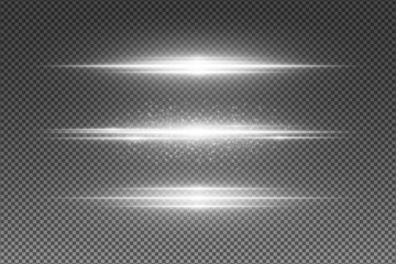 Wall Mural - Set of abstract white light effect isolated on transparent background. Flying luminous particles. Random neon lines. Vector illustration