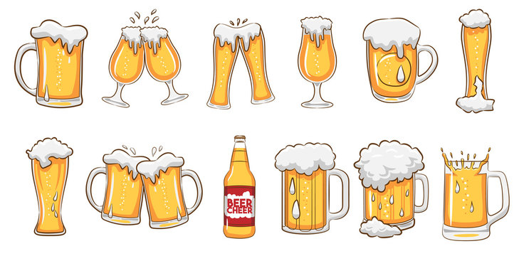 beer mug vector set graphic clipart design