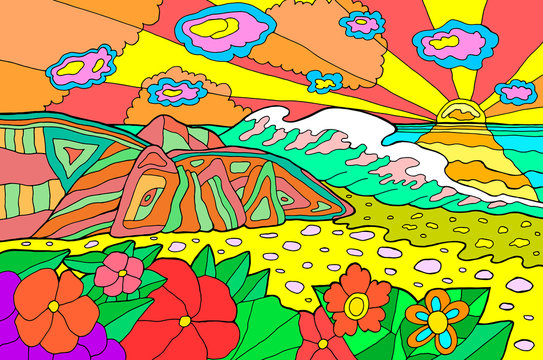 Psychedelic illustration with seaside landscape. Ocean sunset. Colorful catoon retro art. Hippie 60s artwork. Vector illustration