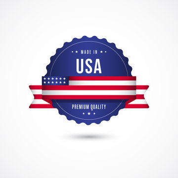 Made in USA Premium Quality Label Badge Vector Template Design Illustration