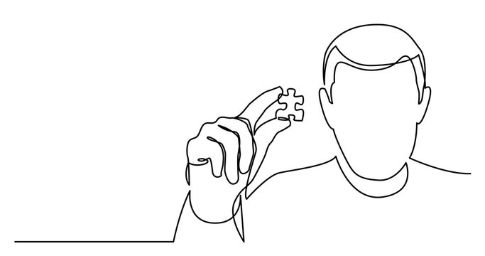 continuous line drawing of man showing missed puzzle piece