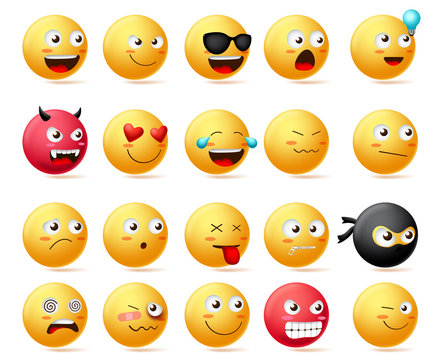 Smileys emoji faces vector set. Smiley emoticons with side view faces character in sad, inlove, silent, dizzy, ninja, angry and happy facial expression isolated in white background.
