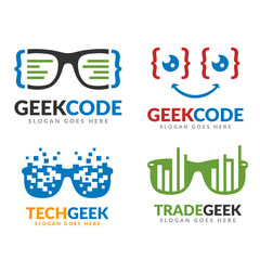 Set of code geek and tech geek and trade geek