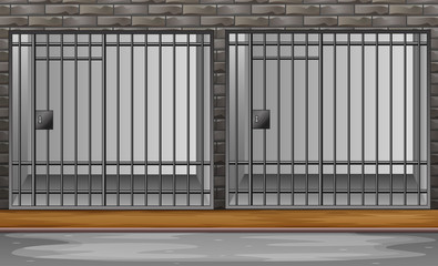 Prison cell with metal bars illustration