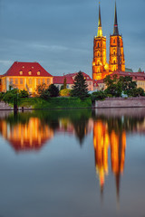 The Cathedral of St. John the Baptist in Wroclaw, Poland, at dusk