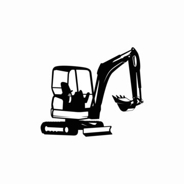 Excavator logo design template vector illustration