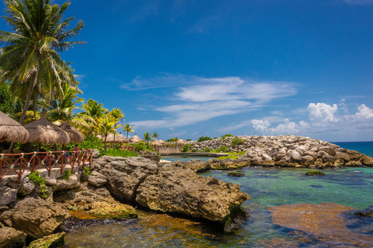 CANCUN, MEXICO - JULY 28, 2018. Xcaret park in Cancun Mexico