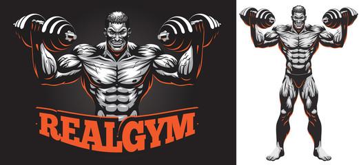 Male Bodybuilder Full Body with Dumbbell Illustration Logo
