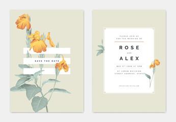 Minimalist botanical wedding invitation card template design, yellow crossandra flowers with leaves on light brown, pastel vintage theme