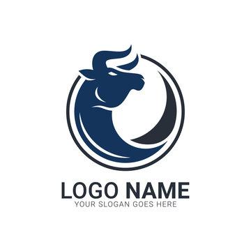Bull on the circle shape. Bull logo design.