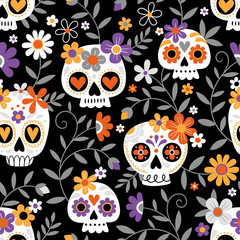 Hand drawn seamless vector pattern with cute sugar skulls and flowers. Perfect for fabric or wrapping paper.
