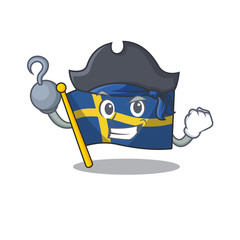 Pirate flag sweden character hoisted in cartoon pole