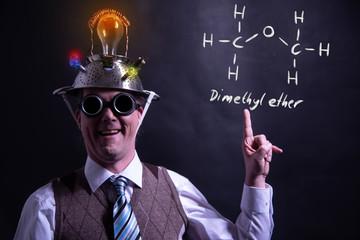 Nerd presenting handdrawn chemical formula of Dimethyl ether methoxymethane DME