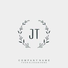 letter JT surrounded by beautiful and elegant flowers and leaves. Wedding monogram logo template. Fashion Logo template Vectors,