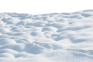 Snow drifts on a white background