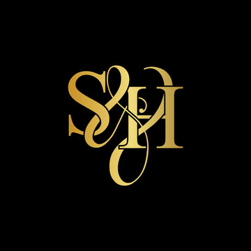 Initial letter S & H SH luxury art vector mark logo, gold color on black background.