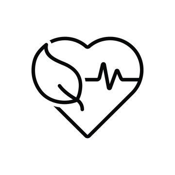 Black line icon for health