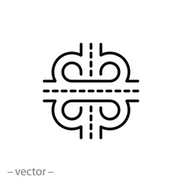 road junction icon, intersection roads thin line web symbol on white background - editable stroke vector illustration eps10