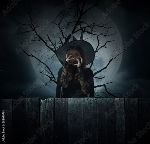 Scary halloween witch standing over dead tree, full moon and