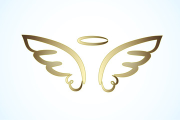 Angel gold wings logo symbol image vector
