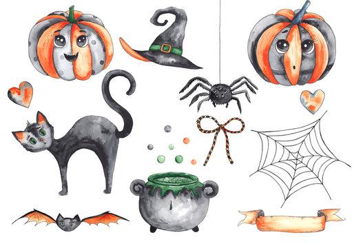 Watercolor autumn elements for children's Halloween party: pumpkins, hats, black cat, owl, cauldron, bat, Lollipop, ice cream, balloons