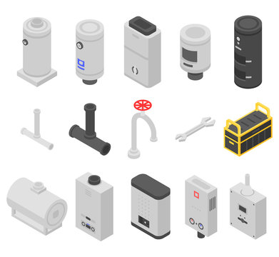 Boiler icons set. Isometric set of boiler vector icons for web design isolated on white background