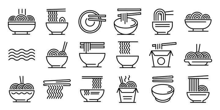 Ramen icons set. Outline set of ramen vector icons for web design isolated on white background