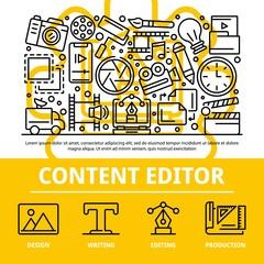 Content editor concept background. Outline illustration of content editor vector concept background for web design