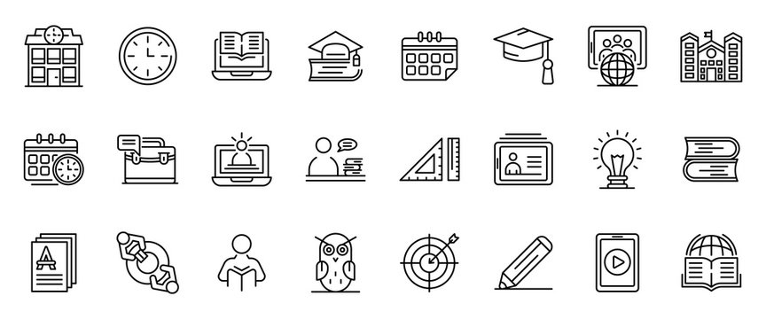 Tutor icons set. Outline set of tutor vector icons for web design isolated on white background