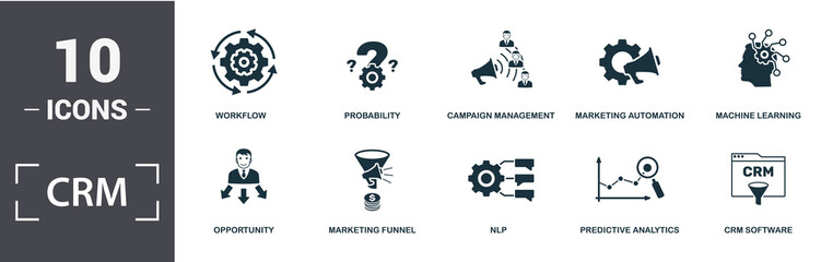 Crm icon set. Contain filled flat machine learning, marketing automation, predictive analytics, probability, umbrella, anchor icons. Editable format Wall mural