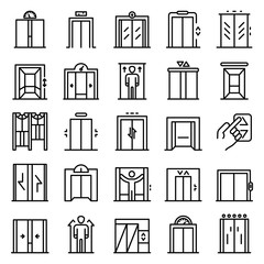 Elevator icons set. Outline set of elevator vector icons for web design isolated on white background