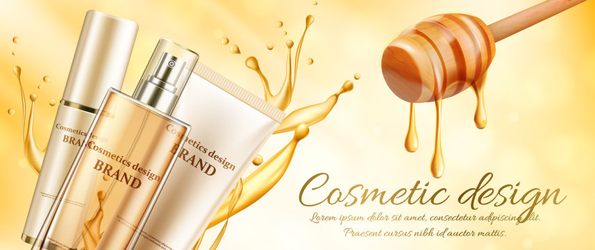Innovative cosmetic products ads on the light honey banner with honeycombs and pure honey. Cosmetics package design. 3d vector beauty illustration