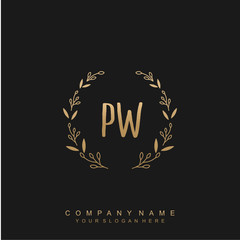 letter PW surrounded by beautiful and elegant flowers and leaves. Wedding monogram logo template.