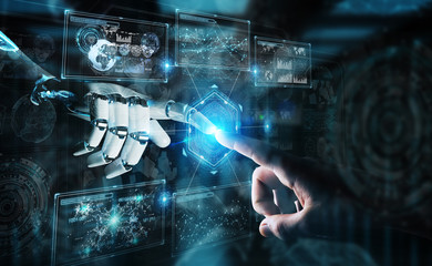 Robot hand and human hand touching digital graph interface 3D rendering