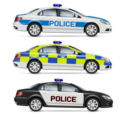 Papiers peints Cartoon voitures Police cars side view vector illustration isolated on white background. All elements in the groups on separate layers for easy editing and recolor