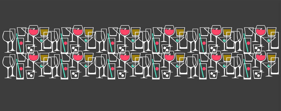 pattern with cocktail glasses