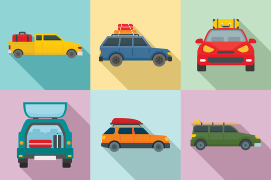 Travel on car icons set. Flat set of travel on car vector icons for web design