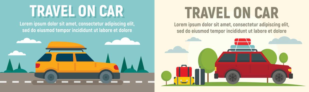Family travel on car banner set. Flat illustration of family travel on car vector banner set for web design