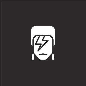 david bowie icon. Filled david bowie icon for website design and mobile, app development. david bowie icon from filled pop culture collection isolated on black background.