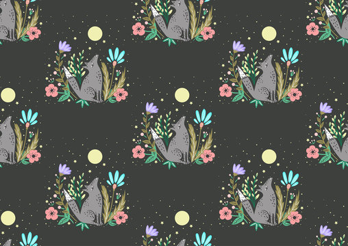 Seamless pattern with a wolf and a moon